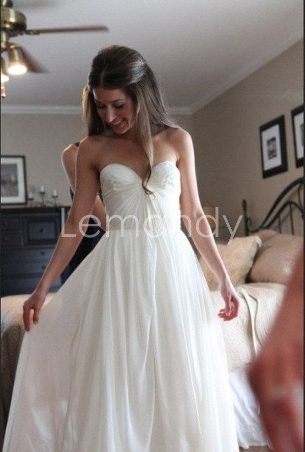 Beach chiffon casual wedding dress simple strapless for Simple strapless wedding dress