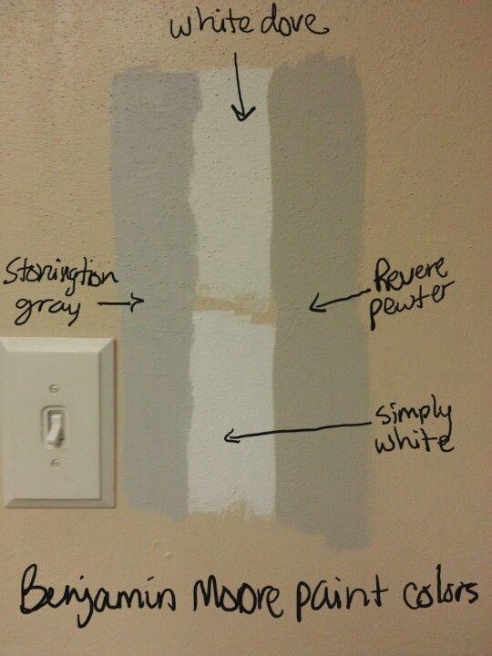 Benjamin Moore Paint Samples In Stonington Gray Revere Pewter White