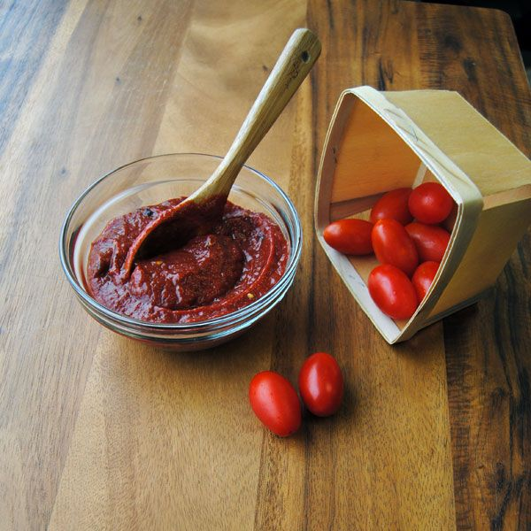 Blueberry Chipotle Ketchup with grape tomatoes.