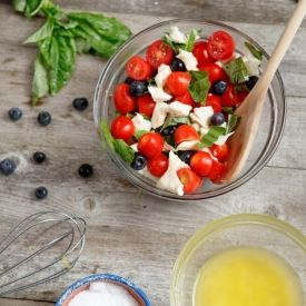 Red, White, and Blueberry Salad.  This quick and easy blueberry caprese salad makes for a great summer bbq side dish!