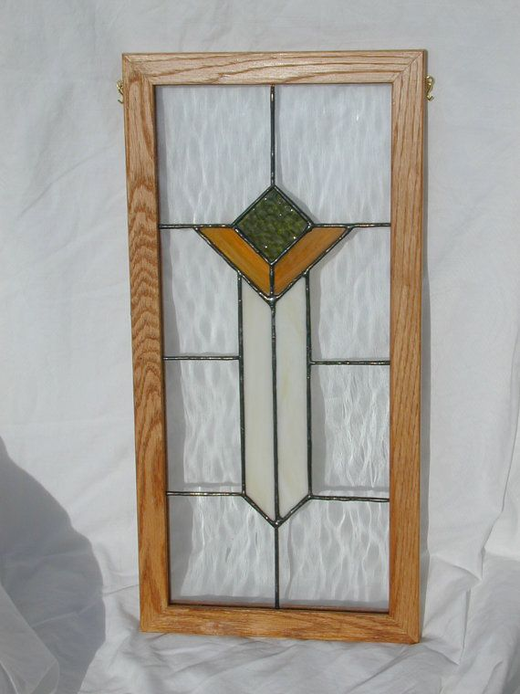 Arts and crafts style stained glass panel