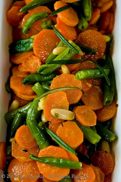 Carrots and Green Beans With Rosemary, Ginger and Pine-nuts