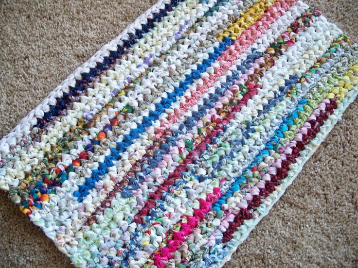 SOLD - Rectangle Crocheted Rag Rug. $35.00, via Etsy.