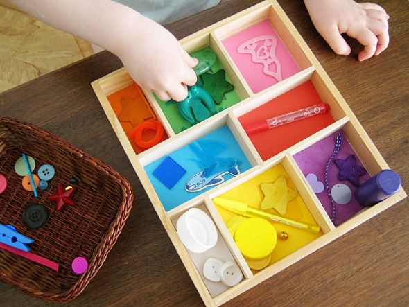 Sorting colors (Tray is from the Melissa and Doug vehical and signs set.  Simply cut construction paper in different colors.  Grab some items in those colors.  Have your child sort the items by color.)
