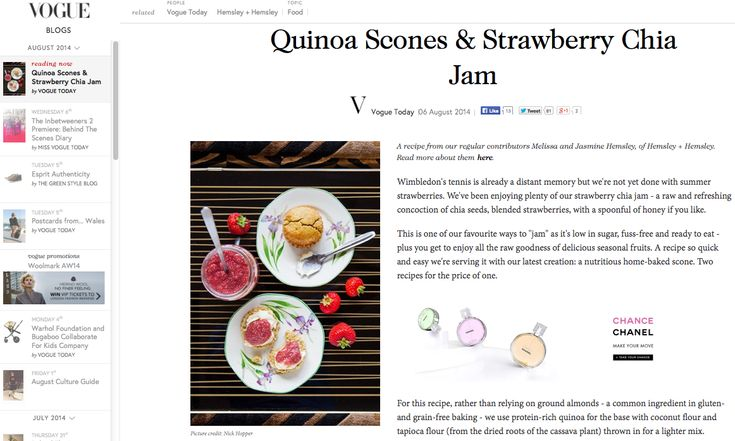Quinoa scones. Strawberry chia jam. Hemsley