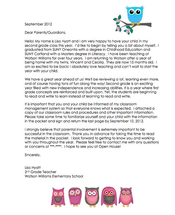 teacher letter to parents about maternity leave