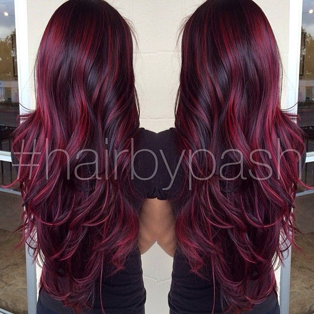 Black Hair Color With Red Highlights Picture Gallery