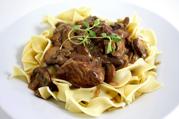 Steak Tips with Peppered Mushroom Sauce served over Egg Noodles