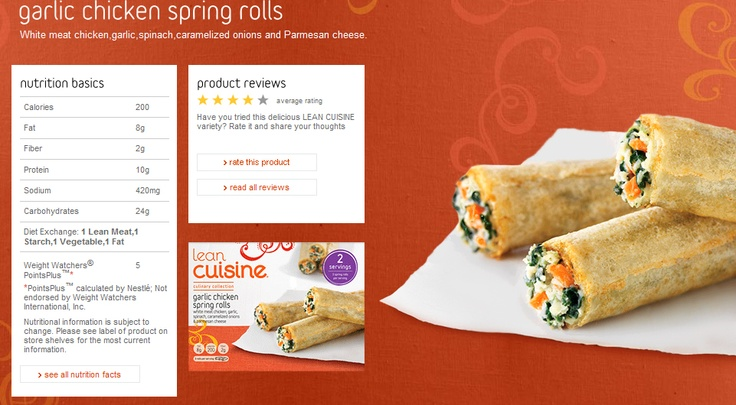 Lean Cuisine Garlic Chicken Spring Rolls are delicious! Mmmmmm.