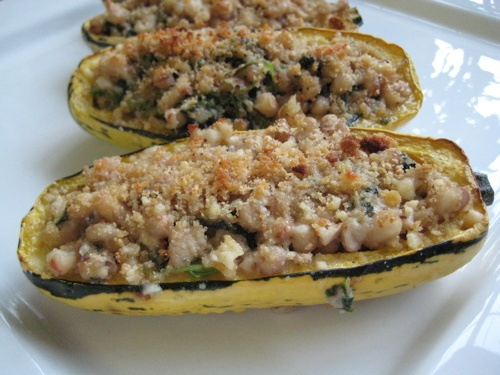 Roasted Delicata Squash Stuffed with White Beans, Greens & Sage. I ...