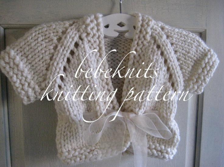 Bulky Sweater Knitting Patterns : Bebeknits Bulky Ribbon Tied Baby Cardigan Knitting Pattern
