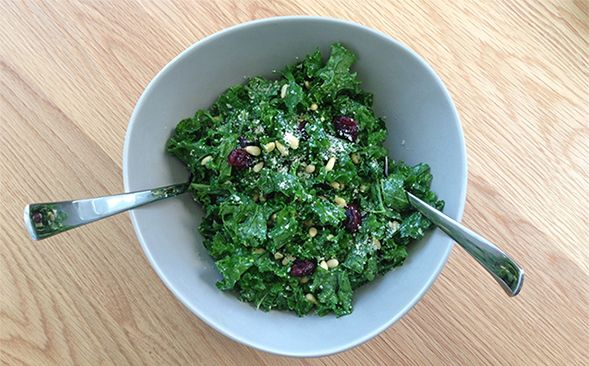 Kale Salad with Pine Nuts & Dried Cranberries (and Vegan Parmesan!)