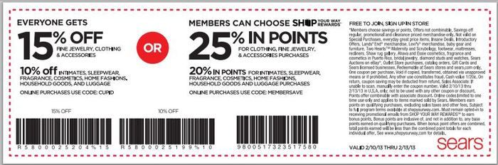Sears outerwear coupons