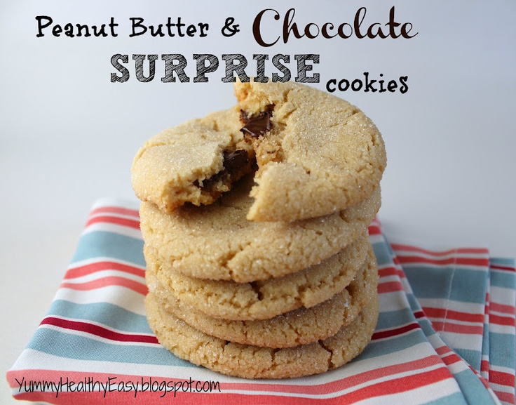 ... - Healthy - Easy: Chewy Peanut Butter & Chocolate Surprise Cookies