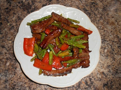 Domestic Education: Flank Steak, Asparagus, and Red Pepper Stir Fry