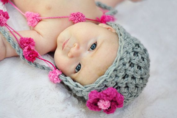 Pink and Gray Earflap Crochet Hat