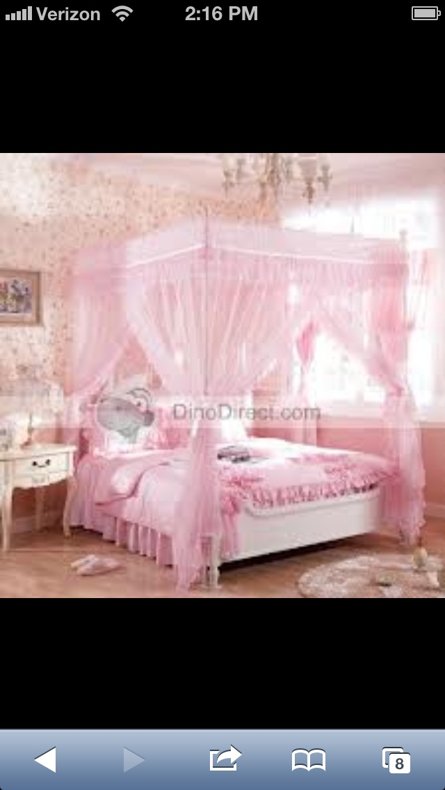 Pink Canopy Bed For My Little Girl  Home  Pinterest