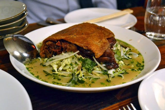 Duck confit in a pho broth at Rouge et Blanc in NYC