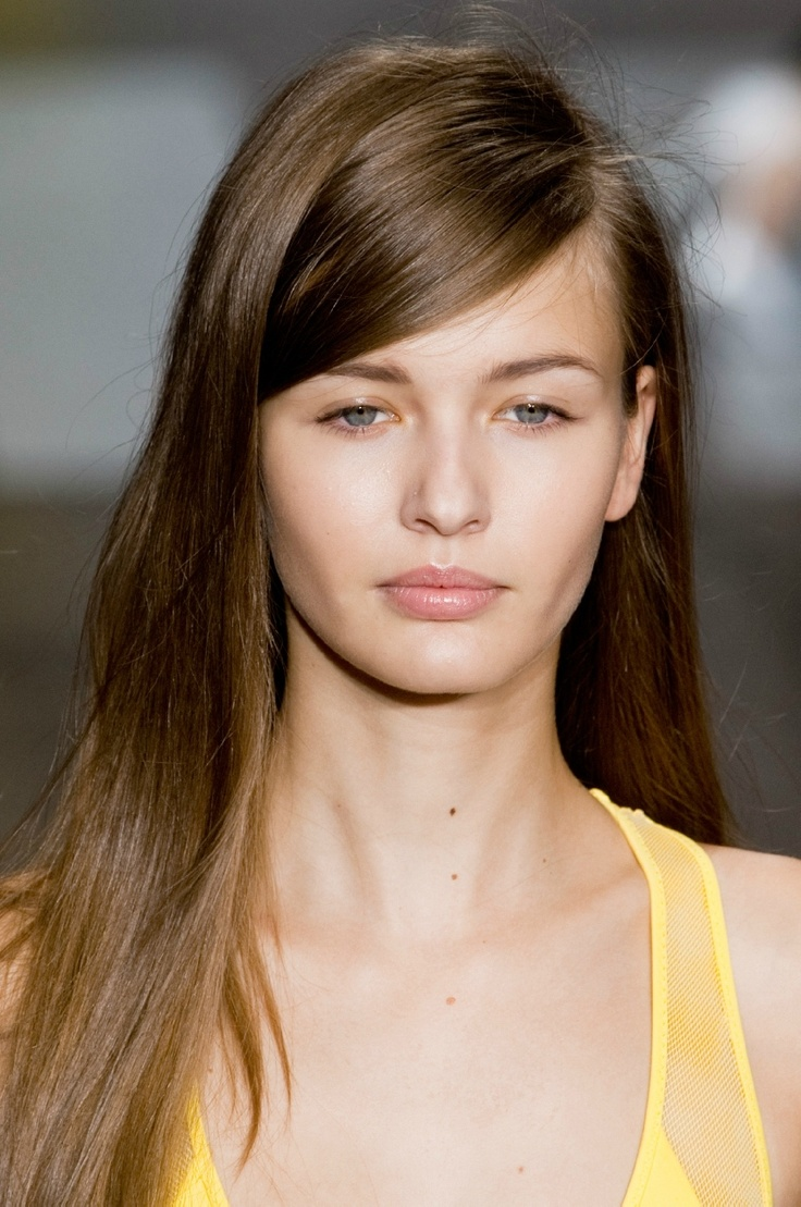 deep wave sew in hairstyles : Deep side part hair - DKNY spring 2013
