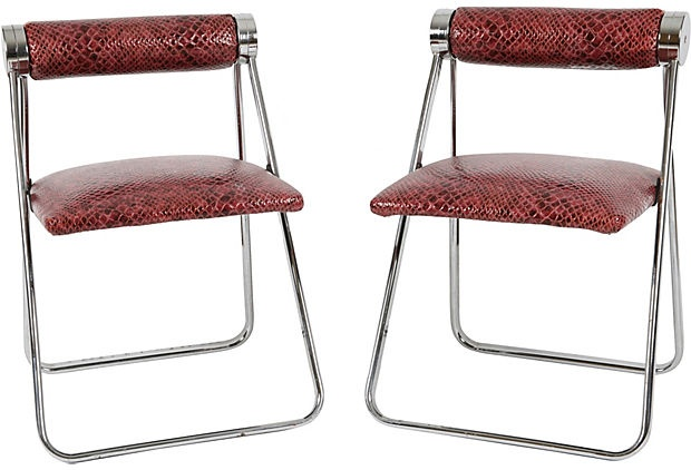 This pair of mid-century chrome folding chairs in faux croc upholstery are so Mad Men!