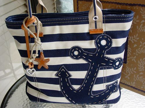 Navy White Chatham Nautical Ziptop Handbag Tote New In Box Ebay