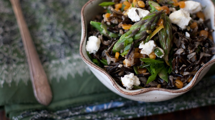Spring Wild Rice Salad (split peas and asparagus, check and check)