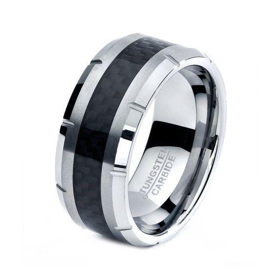 Mens Tungsten Carbide Wedding Band Ring 10mm 515 Half Sizes Black Ca