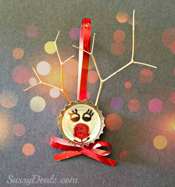 Bottle cap reindeer christmas craft for kids cute for Bottle cap craft ideas for kids