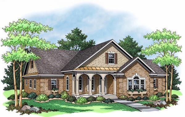European Ranch Traditional House Plan 42503