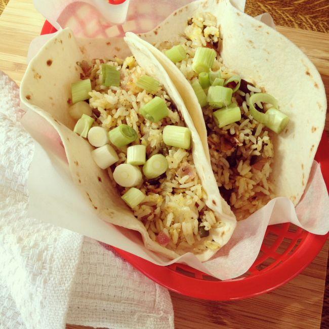 Poblano fried rice tacos