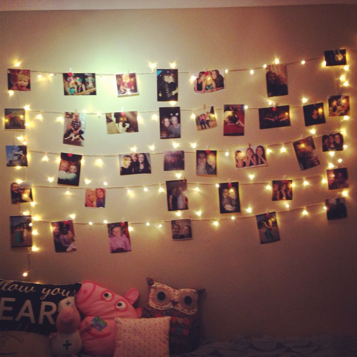 Fairy light photo wall home pinterest for Room decoration lights