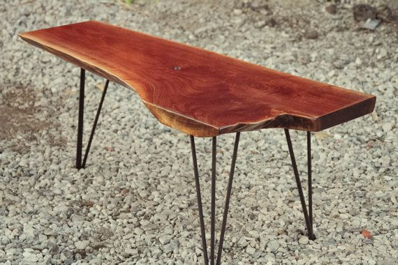 Mid Century Modern Live Edge Walnut Coffee Table With Hairpin Legs