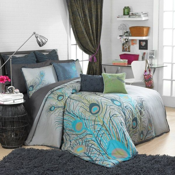 Bedding         blue  amp  grey peacock feathersPeacock Feather Comforter