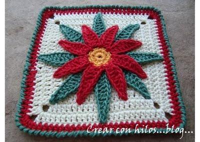 Poinsettia potholder   Crochet: Misc.   Pinterest