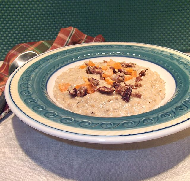 Creamy Coconut Oatmeal with Dried Peaches and Candied Coconut Pecans ...