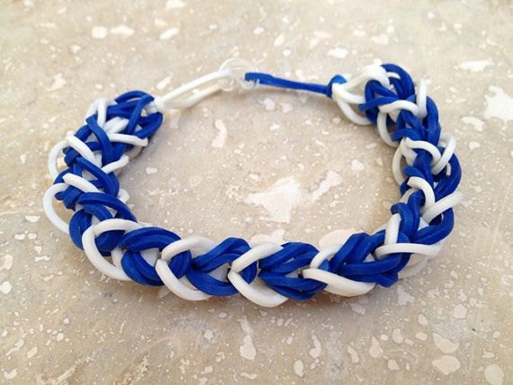 KENTUCKY Blue & White Rubber Band Bracelet