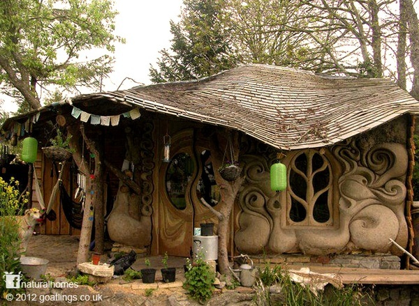 A handmade house made from straw and mud