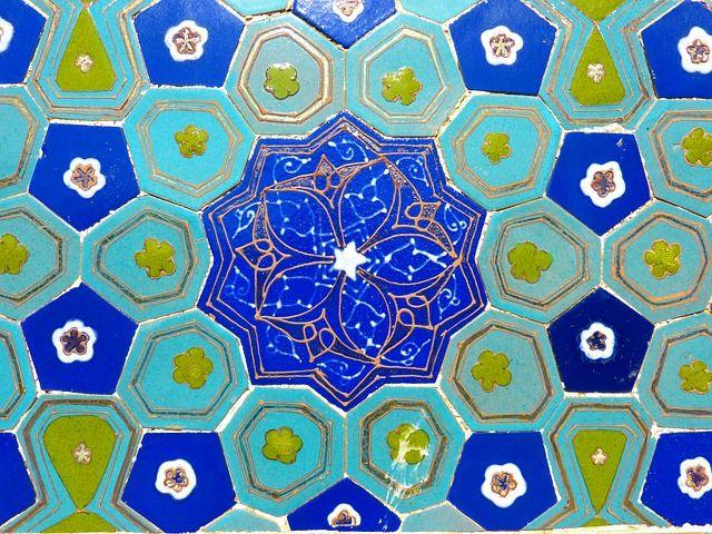 Usbekistan, Mosaik, Muster, Kunstvoll, Türkis, Majolika