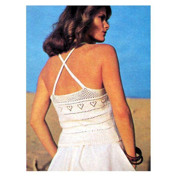 Sexy Knitting Patterns : Vintage Knitting Crochet Pattern Lacy Sexy Camisole Tops 1970s Digita?
