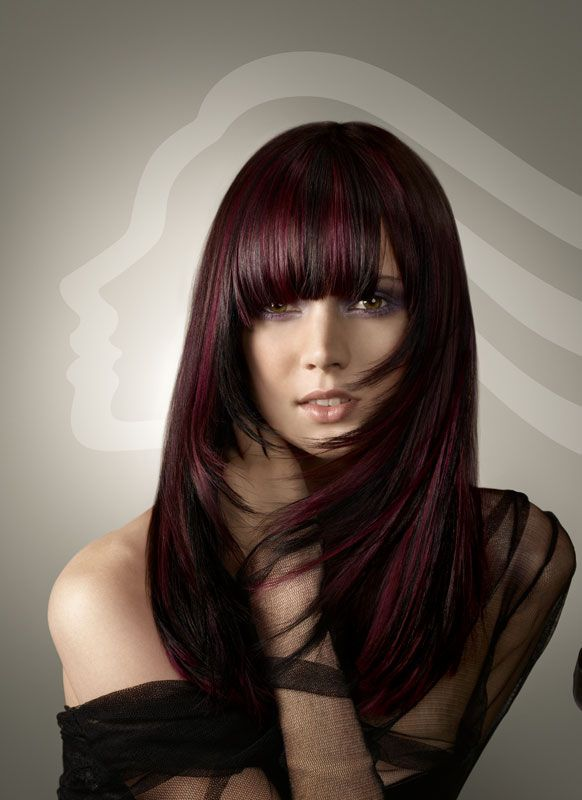 Auburn Highlights on dark brown hair | Hair Color Ideas | Pinterest
