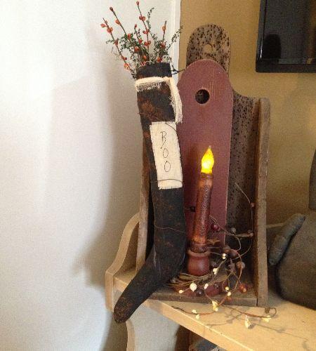 Handmade primitive witch stocking | Primitive Crafts | Pinterest