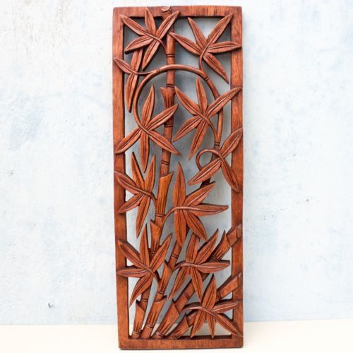Bamboo Wood Wall Decor : Balinese traditional bamboo tree carved wooden panel bali