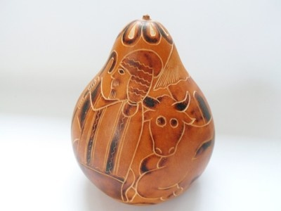 MADE IN PERU HAND CARVED STAINED GOURD W/ NATIVITY SCENE OOAK on eBay!