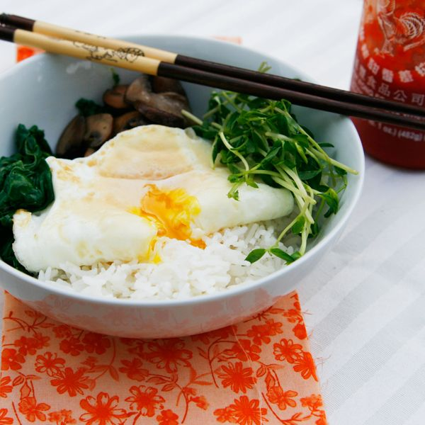 Swiss Chard, Pea Shoot and Mushroom Rice Bowls with Runny Eggs | Reci ...