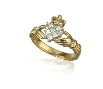 18k Gold Ladies Diamond Claddagh Ring .5ct Price: $2,312.89
