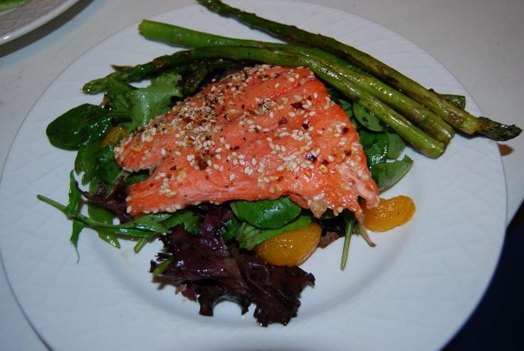 Honey sesame salmon with mandarin orange salad and asparagus.