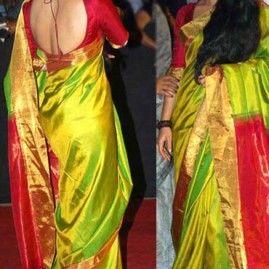 Vidya Balan Backless   Saree blouse designs   Pinterest