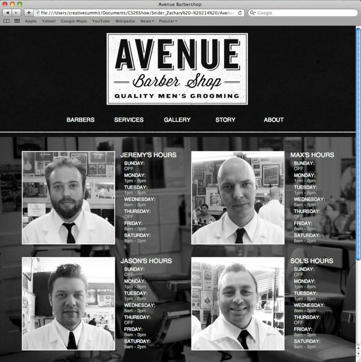 ... Barber Shop Website // Zachary Snider // Texas State University