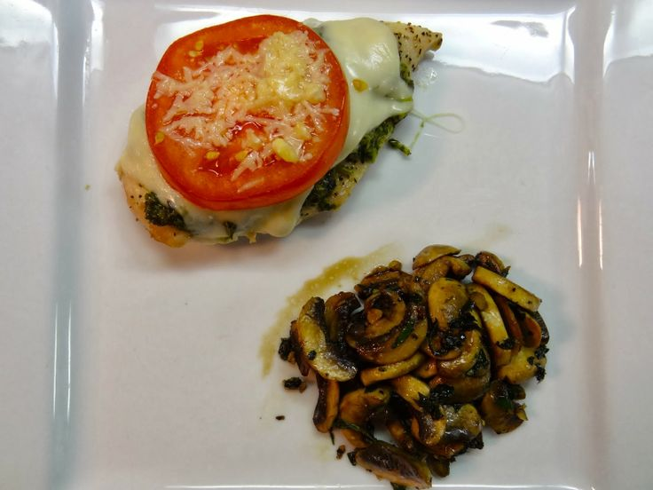 Skinny Chicken Pesto Bake with Roasted Mushroom Medley #cleaneating # ...