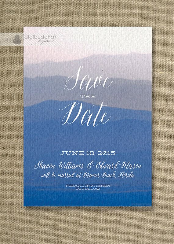 Blue watercolor save the date card beach ocean invitation painted sha